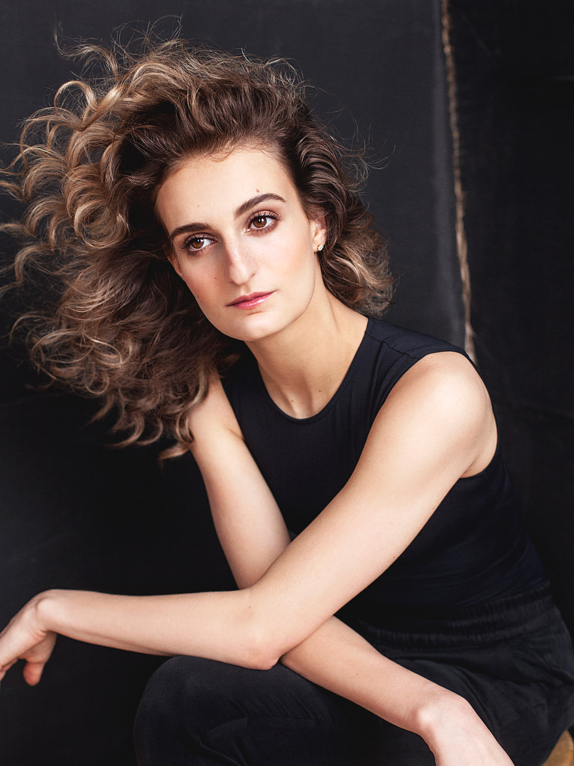 Natural beauty portrait photo of Olympic athlete Gabriella Papadakis in studio.