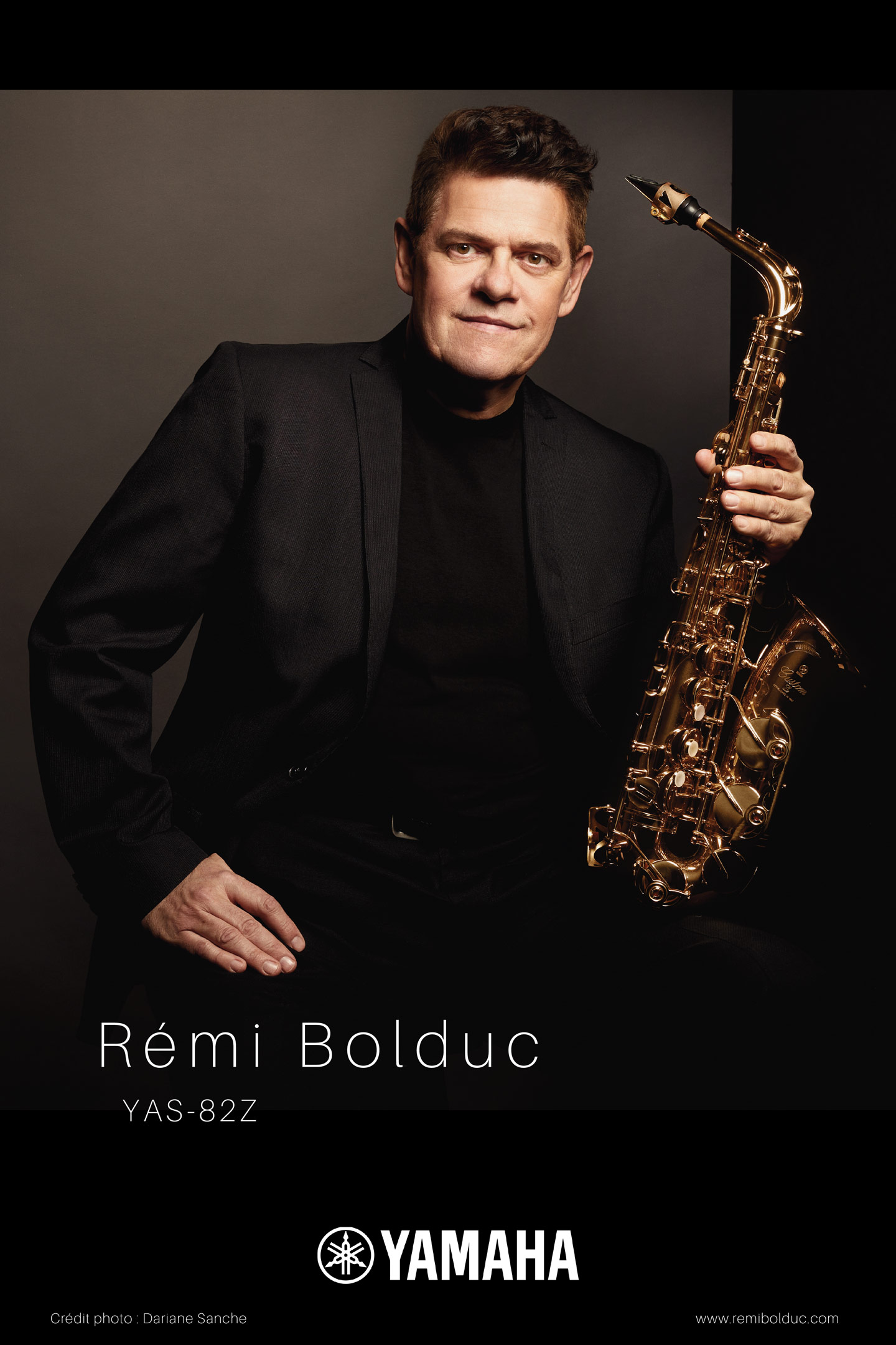 Commercial photographer portrait jazz saxophonist musician in Montreal Remi Bolduc