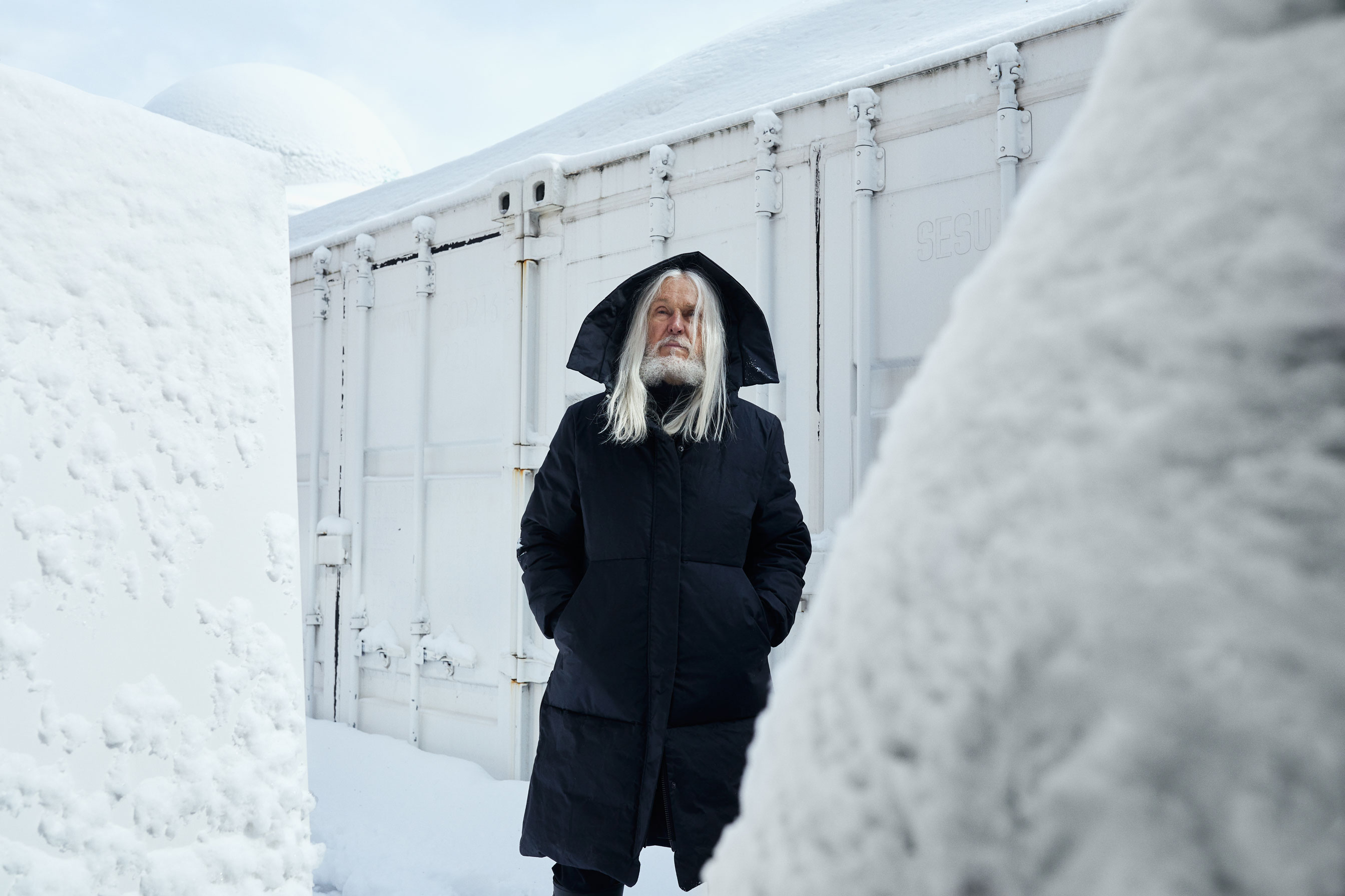 Photo sculptor Armand Vaillancourt in his back yard of his Montreal residence.
