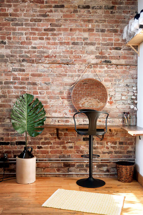 Photo studio and video shoot for rent in Montreal Hochelaga, brick wall
