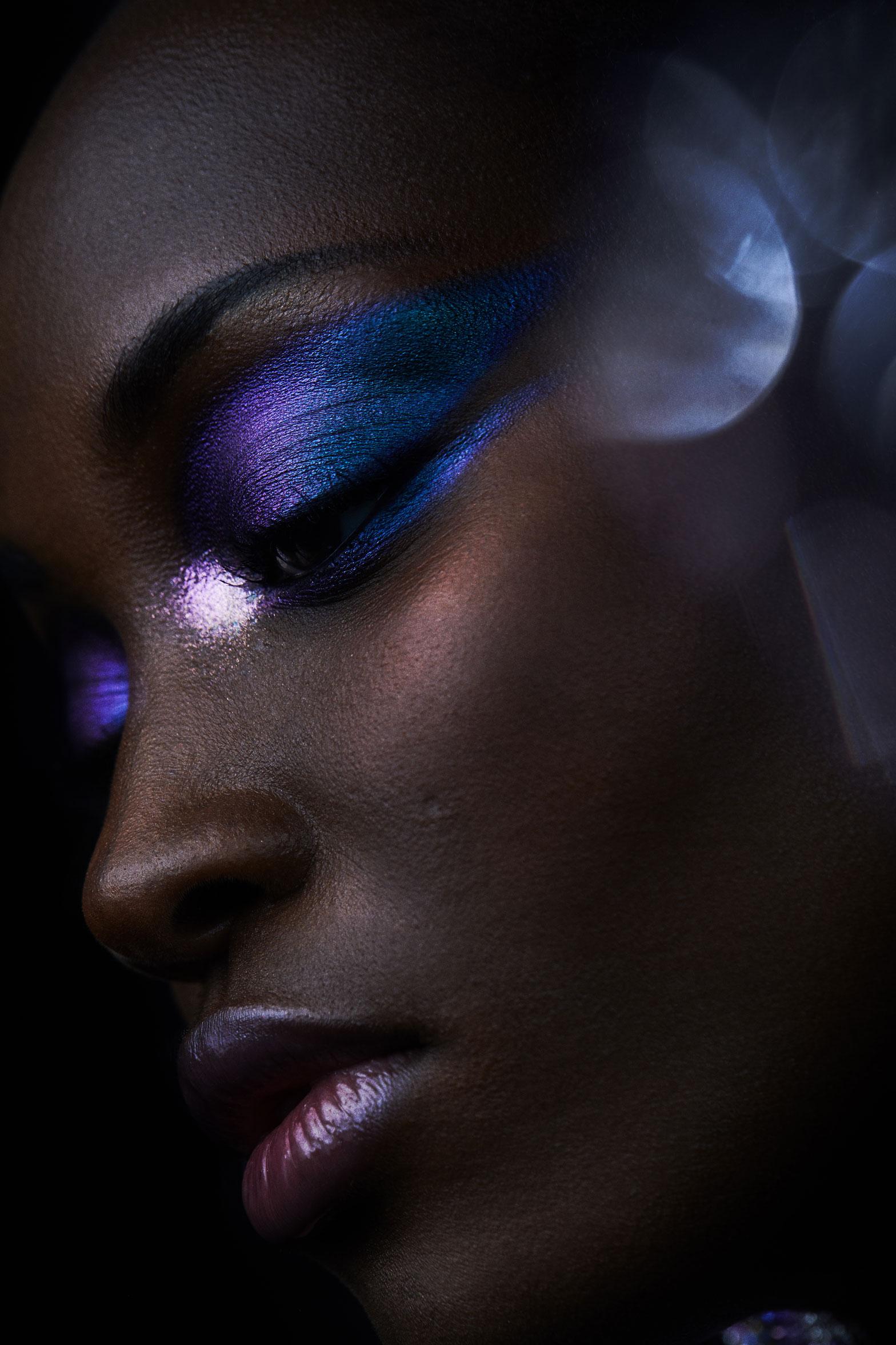Beauty editorial photography using purple cosmetics