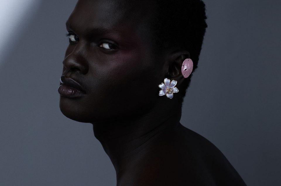 Male mannequin portrait photo floral earring, dariane sanche photo